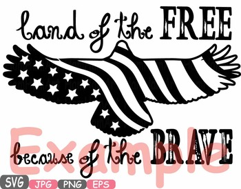 Land Of the Free Because Of the Brave Quote clipart eagle usa flag 4th   -497s