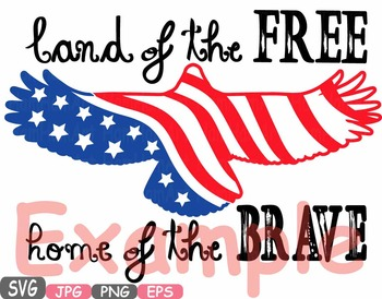 Land Of the Free Home Of the Brave Quote word art clipart Eagle 4th of July 483s