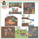 Land Pollution Sources Clip Art, Deforestation, Erosion, Mining, Waste etc.