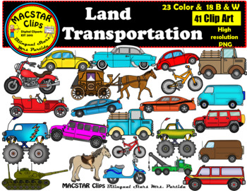 Land Transportation  Clip Art Personal & Commercial Use 41 images