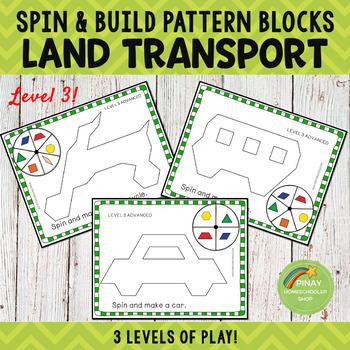 Land Transportation Pattern Blocks Spin and Build