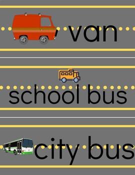 Land Transportation Word Cards