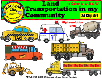 Land Transportation in my Community Clip Art Personal & Commercial Use 34 images