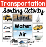Land Water Air Transportation Sorting Pictures