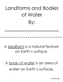Landforms and Bodies of Water Booklet