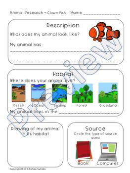 Land and Ocean Animals Research Bundle Kindergarten