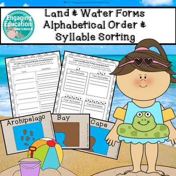 Land and Water Forms Alphabetical Order and Syllable Sorting Activities