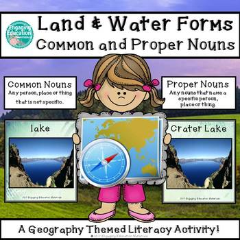 Land and Water Forms Common and Proper Nouns Sorting Activity