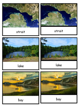 Land and Water Forms Montessori 4-part cards