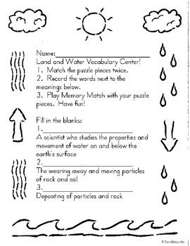 Land and Water Vocabulary Center:Puzzle Pieces/Recording Sheet with answer key!