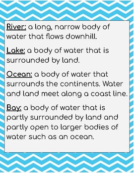 Land features and bodies of water