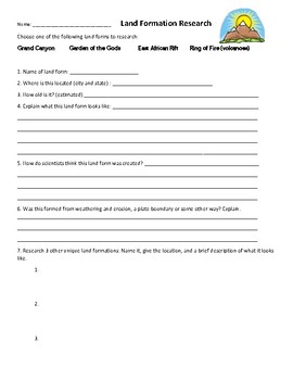 Land formation Research worksheet