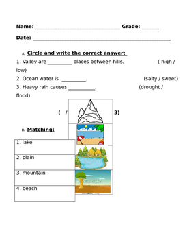 Land-forms Our Earth Quiz