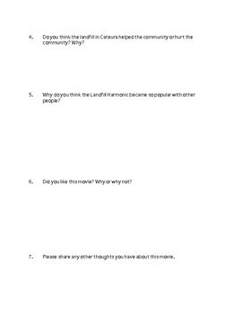 Landfill Harmonic Movie Reflection Worksheet Recycled Orchestra of Cateura