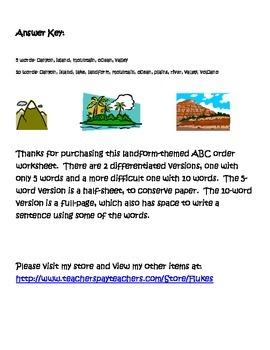 Landform ABC order