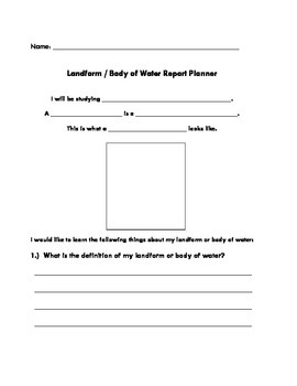 Landform / Body of Water Research Planner