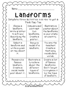 Landform Choice Board Think Tac Toe