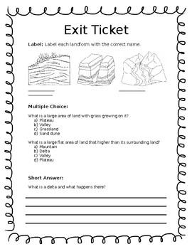 Landform Exit Ticket
