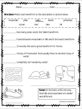 Landform Foldable and Activities