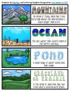 Landform/Habitat Match-up Game, Bookmarks, or Poster