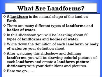 Landform Mini Dictionary Project