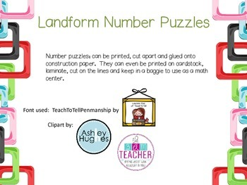 Landform Number Puzzles