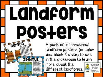 Landform Posters ~ Set of 25 Informational Posters (Color & B/W)