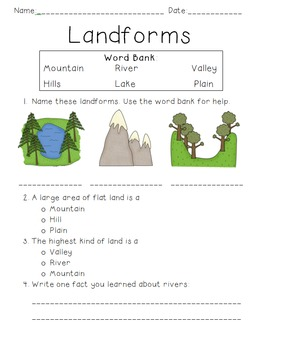 Landform Quiz by Blessings in Second | Teachers Pay Teachers