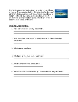 Landform Reading and Check for Understanding