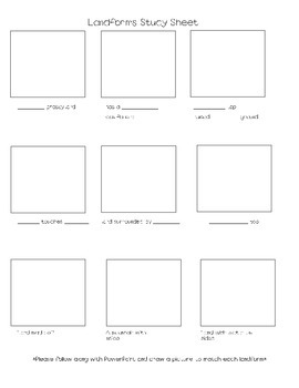 Landform Study Sheet