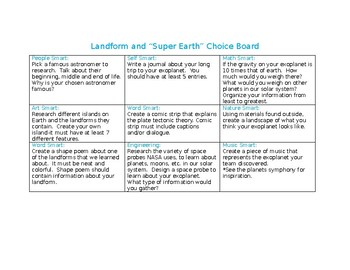 Landform/Super Earth Choice Board