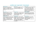 Landform/Super Earth Choice Board