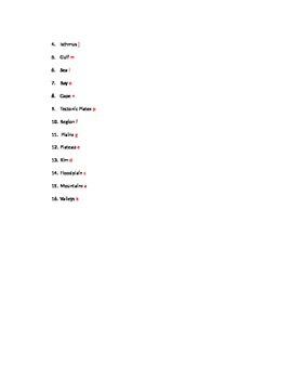 Landform Vocabulary Matching worksheet