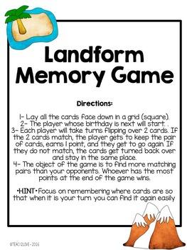 Landform Vocabulary Quiz & Memory Game