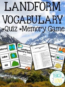 Landform Vocabulary Quiz and Memory Game