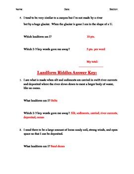 Landform Vocabulary Riddles