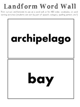 Landform Vocabulary/Word Wall