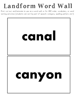 Landforms Vocabulary/Word Wall