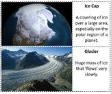 Landform Word Wall Cards Ice Cap and Glacier