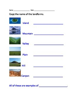 Landform Worksheet Set