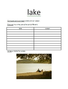 Landform activities: including oceans, rivers, lakes, mountains, and plains