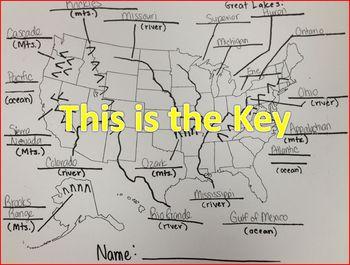 Landform and Waterbody USA map