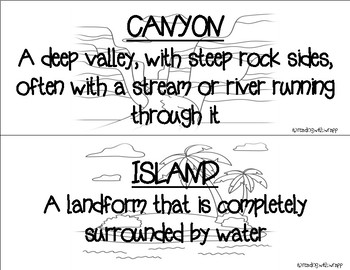 Landform and Waterform Word Wall Cards