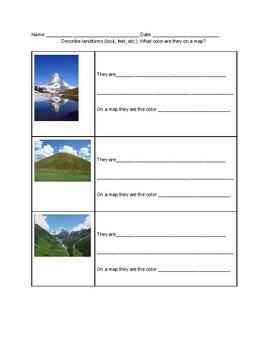 Landform description worksheet