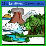 Landforms 12 pc. Clip-Art Set: 6 B&W, 6 Color