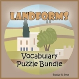 Geography Landforms Bundle - Vocabulary Puzzles and Glossary