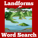 Landforms Worksheet | Landforms Activity | Landforms Word Search