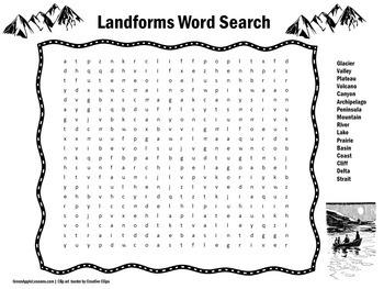 Landforms Worksheet | Landforms Activity | Landforms Word Search