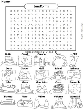 Landforms and Bodies of Water Word Search (Geology Unit)