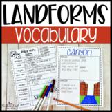Landforms Fun Interactive Vocabulary Dice Activity EDITABLE